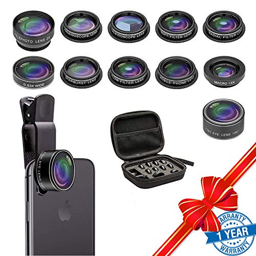 Cell Phone Camera Lens Kit, SEVENKA 11 in 1 Super Wide Angle+Macro+ Fisheye+Telephoto+CPL/Flow/Radial/Star/Soft Filter+Kaleidoscope Lens Compatible for iPhone, Samsung, Sony, and Android Smartphone