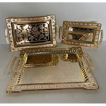 Luxury Linen Beautiful Decorative 3 Pieces Stainless steel Tea & Coffee Serving Tray Gold Plated Serving Tray Rectangle Platter Glossy,Party Serving With Metal Handles New (2233)