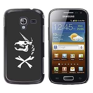 Shell-Star Arte & diseño plástico duro Fundas Cover Cubre Hard Case Cover para Samsung Galaxy Ace 2 I8160 / Ace2 II XS7560M ( Unicorn Bones Funny Grey Skull Horn )