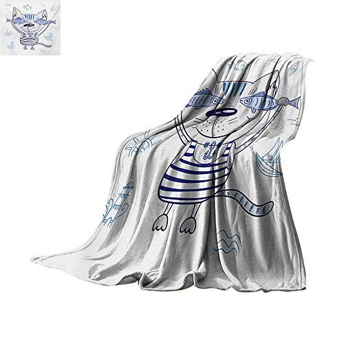(Fish Weave Pattern Blanket Naughty Cat with Fish in Striped T-Shirt Anchor Pendant and Nautical Maritime Sign Summer Quilt Comforter 90