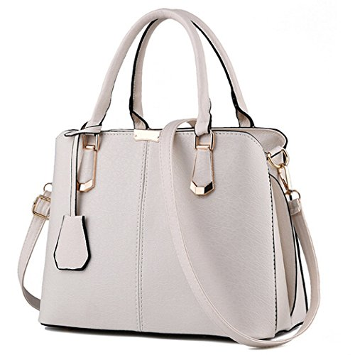 Women PU Leather Handbag Shoulder Lady Cross Body Bag Tote Messenger Satchel Purse (White)