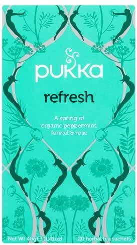 Pukka Herbal Teas Refresh Organic Peppermint Fennel and Rose Tea - Caffeine Free - 20 Bags, 20 Count