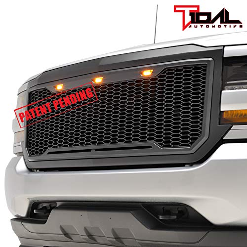 Tidal Replacement Upper ABS Grille Front Hood Grill With Amber LED Lights - Matte Black for 16-18 Chevy Silverado 1500 Diamond Plate Hood Vent