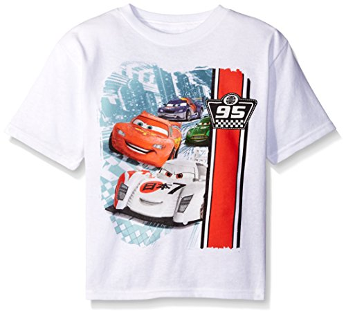 Cars Little Boys' Toddler Race Toddler T-Shirt, White, 3T