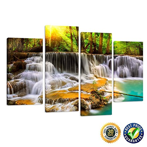 Interior Waterfall (Kreative Arts - 4 Panel Forest Waterfall Landscape Photography Print on Canvas Framed Picture Canvas Wall Art Modern Home and Office Interior Decor)