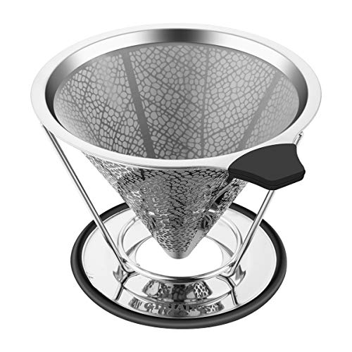- Pour Over Coffee Dripper, GRATU Stainless Steel Coffee Filters Cone with Stand Reusable Paperless Pour Over Coffee Maker for 1-4 Cup