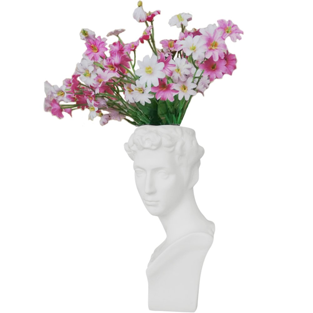 "Creation Core Indoor Outdoor Heads Planter Resin Succulent Planter Vase Greek Statue Planter Urn Home Garden Decor Sculpture 6.7"" H, Medici"