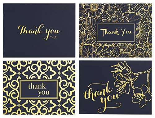 Perfect for All Occasions Including Weddings Bridal Showers and Baby Showers Thank You Cards Bulk Set of 100 Navy Blue Thank You Notes in Gold Foil Embossed Lettering and White Envelopes