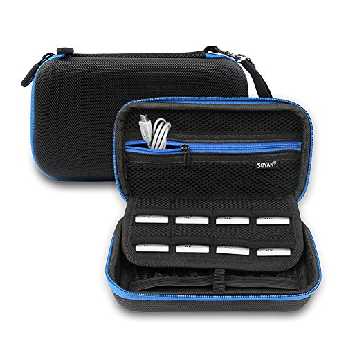 Soyan Carrying Case for Nintendo New 3DS XL and 2DS XL, with 16 SD Card Holders, Fits Wall Charger, Black/Blue