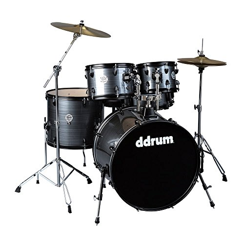 ddrum D2 Player Series Complete Drum Set with Cymbals, Grey Pinstripe (Ddrum Sets Cymbals)