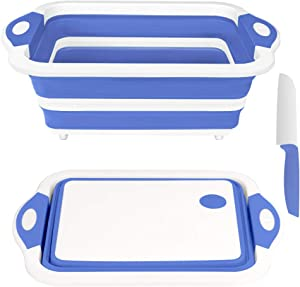 Rottogoon Collapsible Cutting Board, Foldable Chopping Board with Colander, Multifunctional Kitchen Vegetable Washing Basket Silicone Dish Tub for BBQ Prep/Picnic/Camping(BlueViolet)