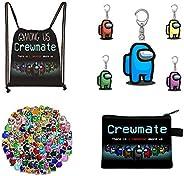 Among Us Gift Set, 1pc Among Us Drawingstring Backpack Bag, 1pc Coin Purse, 100pcs Among Us Stickers, 5pcs Key