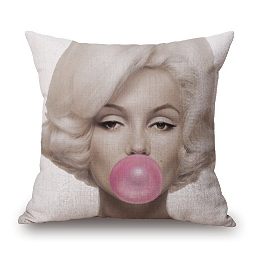 Decorative Throw Pillow Covers Cotton Linen Cushion Covers 18 x 18 inch Marilyn Monroe Blow Bubbles Printing Creative Pillow Case Cushion Cover by LightInTheBox