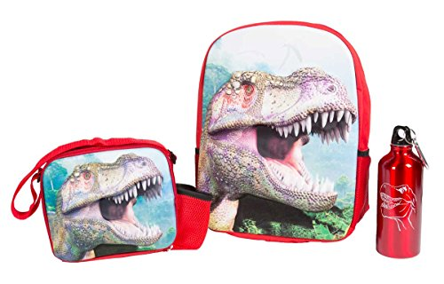ComputerGear 3D TRex Backpack Lunch Box Lunchbox Water Bottle Set Dinosaur (Dinosaurs Perfect Predators)