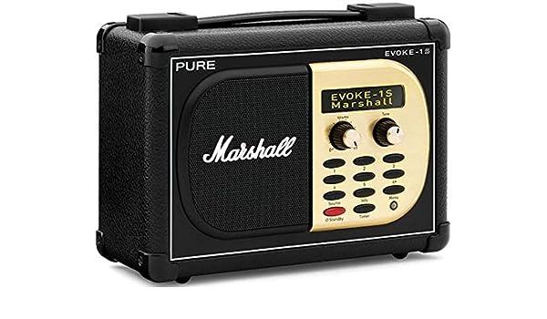Pure Evoke-1S Marshall - Radio (Portátil, Digital, DAB, DAB+, DMB, FM, 7 W, 76.2 mm (3