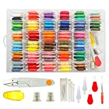 Embroidery Floss Cross Stitch Threads - Darley 99 Colors Friendship Bracelet String with Organizer Storage Box, Floss Bobbins and 38 Pcs Cross Stitch Kits