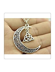 Crescent Moon Necklace with Triquetra Symbol Charms, 60cm Sweater Chain Necklace