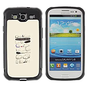 LASTONE PHONE CASE / Suave Silicona Caso Carcasa de Caucho Funda para Samsung Galaxy S3 I9300 / Painted Pattern Beige Pen Art