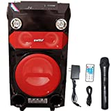 EWTTO 8 Inch Speaker Portable PA Karaoke Wireless Microphone Mic Sound System, Remote control, Mic Talk-Over & Recording Ability, MP3/USB/SD/FM Radio