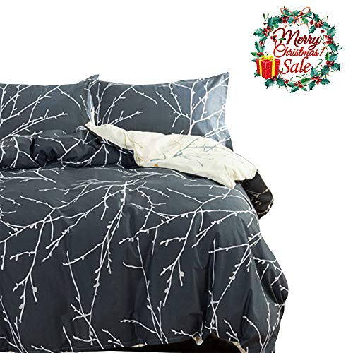 3 Pieces Duvet Cover Set Queen Gray ,Branch Tree Duvet Cover with 2 Pillow Shams - Hotel Quality 100% Cotton - Luxurious, Comfortable, Breathable, Soft and Extremely Durable (Queen, Style6)