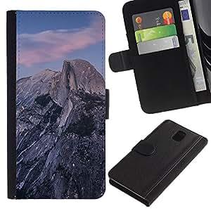 LECELL--Cuero de la tarjeta la carpeta del tirón Smartphone Slots Protección Holder For Samsung Galaxy Note 3 III -- Hermosa Montañas Rocosas --