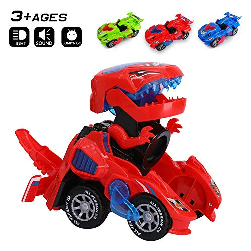 Odizli Transformando Dinosaurio LED Coche Juguetes para Niños Niños Halloween (Rojo)