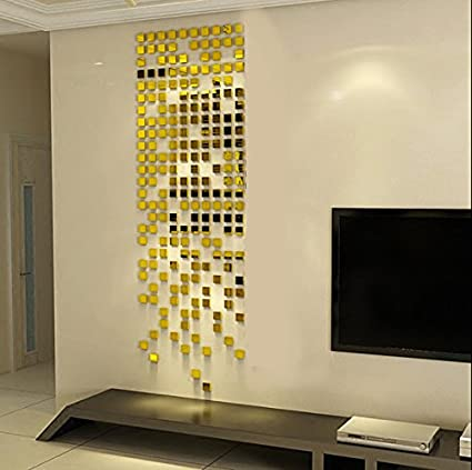 Incredible Gifts India 3D Wall Decor Stickers   Square Mosaic (Gold)