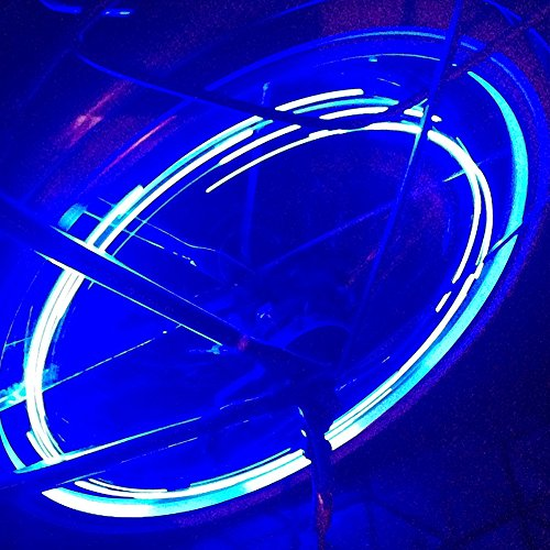Caloics Super Cool LED Bike Wheel Lights for 100% Brighter Bicycle Spokes Rims & Tires Best for Safety Fun & Style BATTERIES INCLUDED! Perfect Birthday Gifts Fast Easy Install Guaranteed