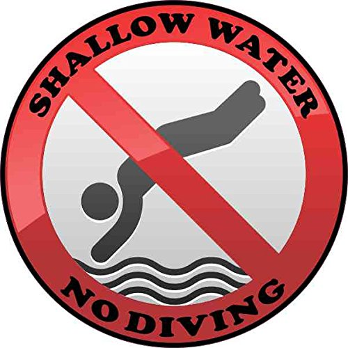 StickerTalk/® 4in x 4in Shallow Water No Diving Sticker Vinyl Pool Safety Sign Decal