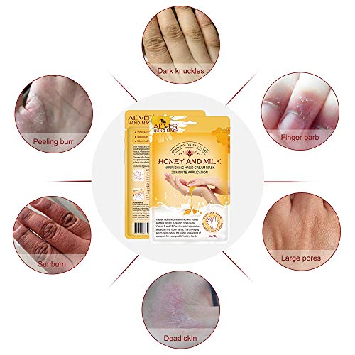 Hand Moisturizing Mask, (5 Pack) Honey and Milk Gloves, Moisturizing Natural Therapy Gloves, for Dry Aging Cracked Hands Repair Rough Skin for Men Women
