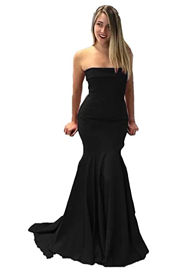 Promworld Womens Burgundy Mermaid Prom Dresses Strapless Long Evening Gowns Black US2