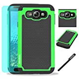 Samsung Galaxy E5 / E500 Case, INNOVAA Anti-Slip Shockproof Soft Silicone Dual-Layer Durable Armor Case W/ Free Screen Protector & Touch Screen Stylus Pen - Black/Green
