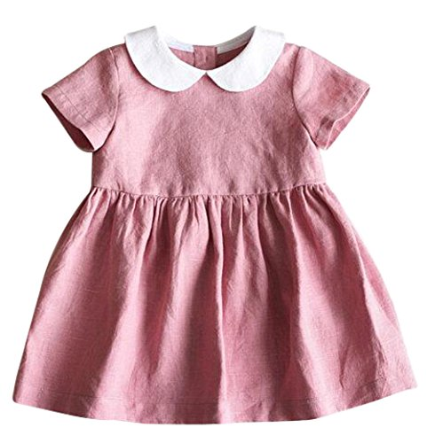Pink Baby Dress - BANGELY Toddler Girls Turn Down Collar Short Sleeve Ruffle Pleated Dress Princess Party Tutu Dresses Size 12-18 Months/Tag90 (Pink)