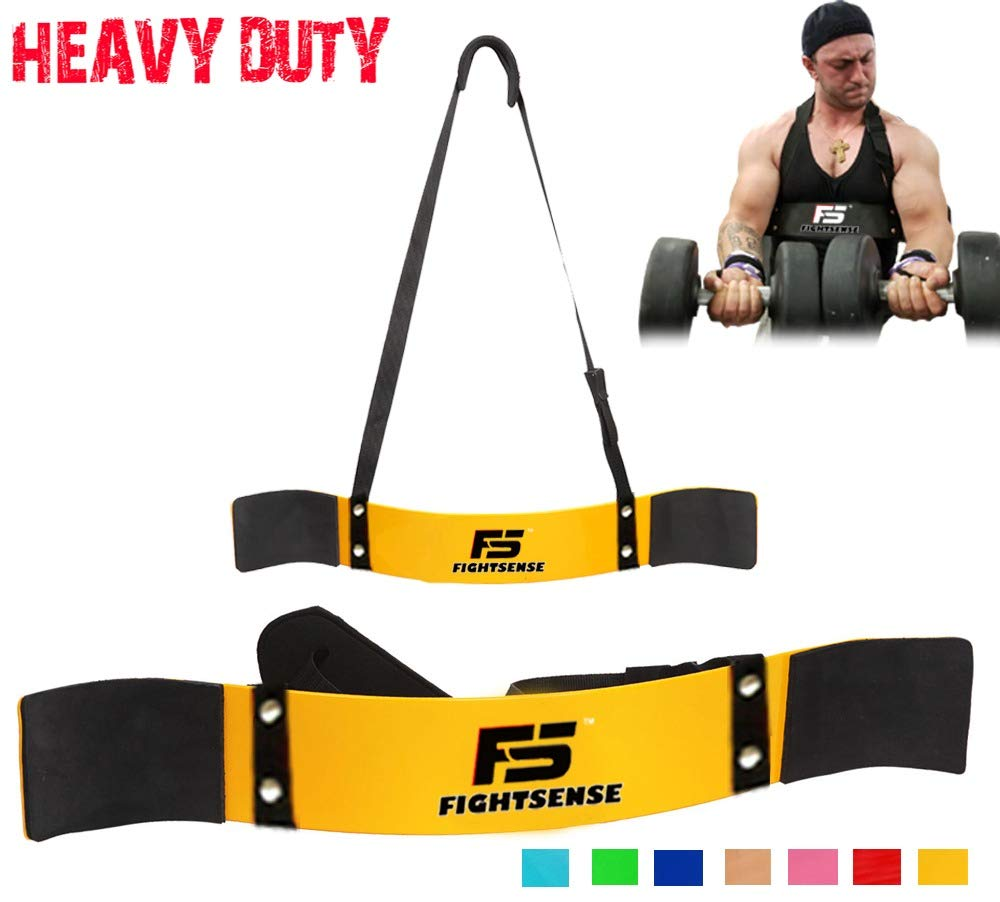 FIGHTSENSE Arm Blaster Biceps Curl Triceps Muscle Isolator Bomber Fitness Gym Workout Training Support (Yellow)