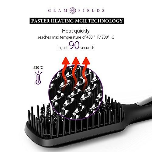 Hair Straightening Brush, GLAMFIELDS Electrical Heated Brush Irons Hair Straightener Faster Heating MCH Technology