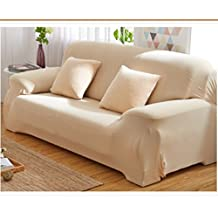 3 Steater(190-230cm) Sofa Couch Slip Over Easy Fit Stretch Covers Elastic Fabric Fit Settee Protector (Tan)