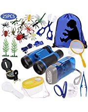 Anpro 25pcs Kids Outdoor Explorer Kit, Children Adventure Toys Gift for Boys including Kids Telescope, Compass, Flashlight, Suitable for over 6 Years Old(Blue)