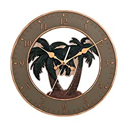 Ashton Sutton CX1460 Quartz Analog Resin Palm Tree Case Wall Clock