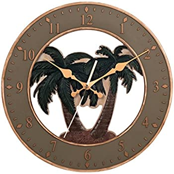 Ashton Sutton CX1460 Quartz Analog Resin Palm Tree Case Wall Clock