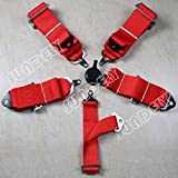 SUNDELY Red Color 4 / 5 Point Sport Racing Race Car Harness Seat Belt 3 Inch Wide
