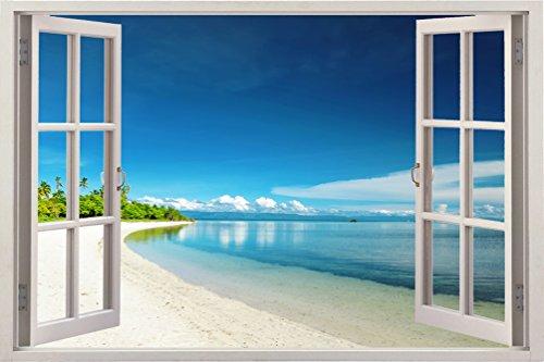 3D Depth Illusion Vinyl Wall Decal Sticker , Window Frame Style Home Decor Art Removable Wall Sticker Mural Poster Pictures , 85 X 115 CM Ocean Tropical Beach Top Silence View