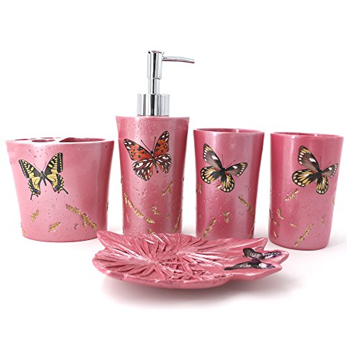 (LUANT 5-Piece Bathroom Accessories Set, Includes Decorative Countertop Soap Dispenser, Dish, Tumbler, Toothbrush Holder, Butterfly Print Resin Vanity Ensemble Set(Pink))