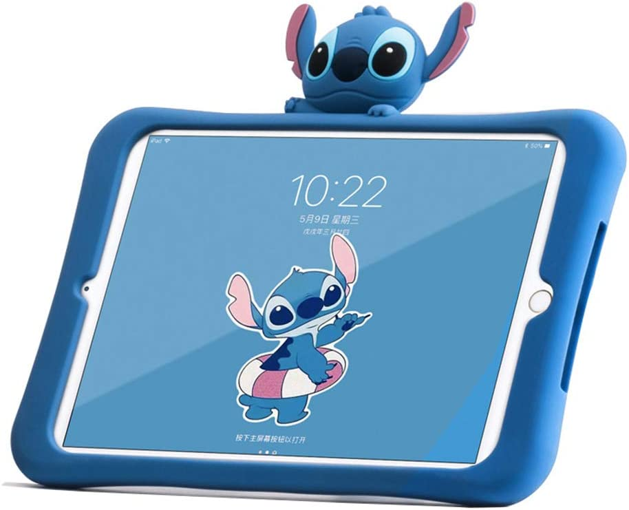 HikerClub iPad 2 Case, iPad 3 Case, iPad 4 Case, iPad 9.7 Case for Kids Stitch Cute Cartoon Case with Fold Stand Ultra Soft Slim Silica Shockproof Cover for Girls Boys Kids Children (Stitch)