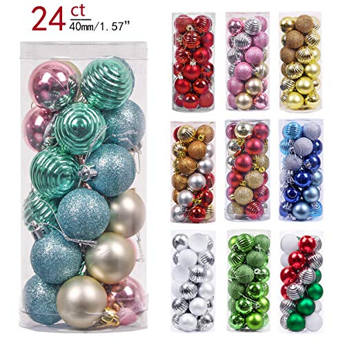 Valery Madelyn 24ct 40mm Babys First Christmas Shatterproof Christmas Ball Ornaments Decoration,Themed with Tree Skirt(Not Included)