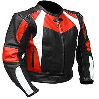 Bikers Gear UK Chaqueta de moto en Cuero negro Vector en color Negro e Rojo protecciones en codos hombros y buen cosido Talla L