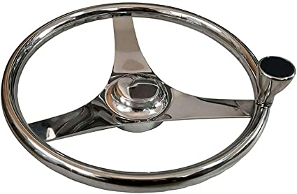 "Marine Boat Steering Wheel W// Nut /& Knob Stainless Steel 3 Spoke 13-1//2/"""