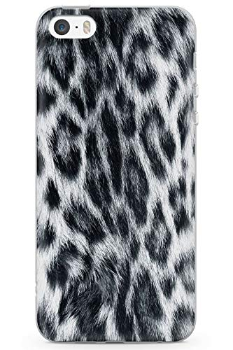 iPhone 5 Case, iPhone 5s, iPhone SE Designer Fashion White Leopard Phone Case by Casechimp | Clear Ultra Thin Lightweight Gel Silicon TPU Protective Cover | Animal Cute Cat Cheetah - Cheetah Charger 5s Iphone