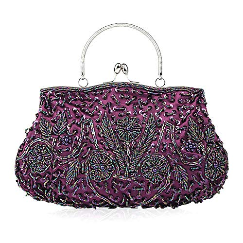 Soft Clutch Evening Sequin Evening Clutch Sequined Purse Purple Large Exquisite Antique Floral Leaf Clutch Bead Seed Bead Handbag Bag Seed ibella FHXgqCF