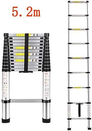GLJJQMY Escalera telescópica hogar Escalera de ingeniería Recta ático Plegable de bambú portátil Levanta aleación de Aluminio Grueso (Size : 5.2m): Amazon.es: Hogar