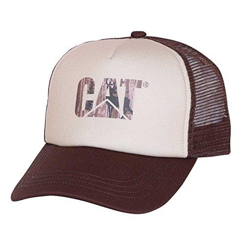 Caterpillar Men's Custom Logo Cap, Whitetail, One Size (Trucker Hat Cat)